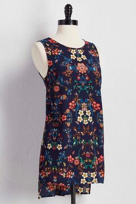 double slit floral tunic