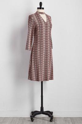 cutout mock neck knit dress