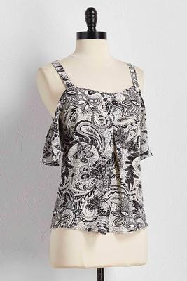graphic paisley bare shoulder top