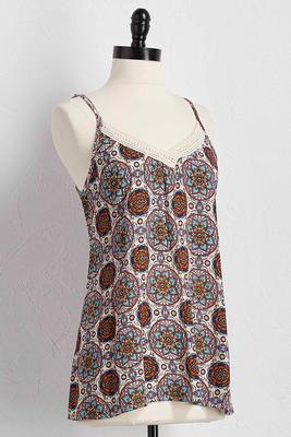 floral medallion crochet trim tank