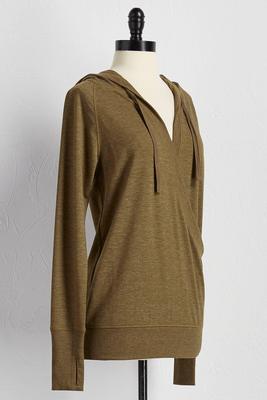 v-neck surplice hoodie