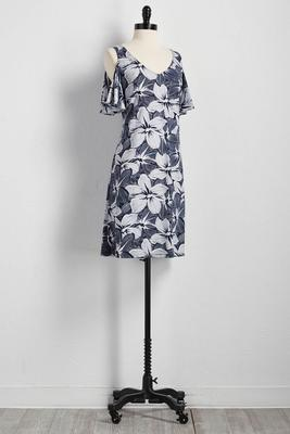 tropical floral bare shoulder shift dress