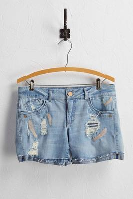 feather embroidered jean shorts