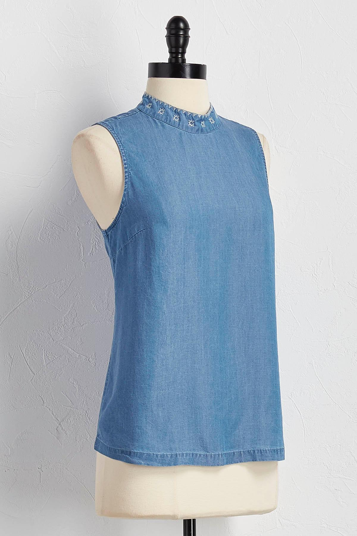 Embroidered Chambray Mock Neck Tank