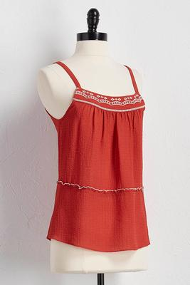 embroidered gauze babydoll tank