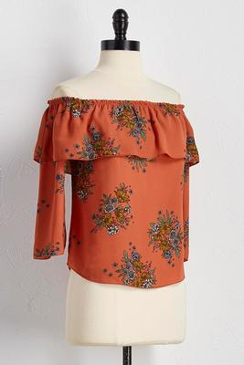 floral flounced off the shoulder top