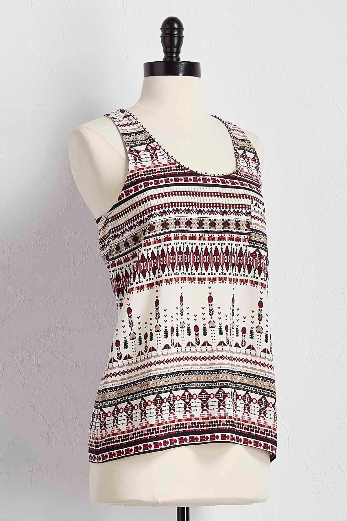 Beaded Neck Tribal Print Tank