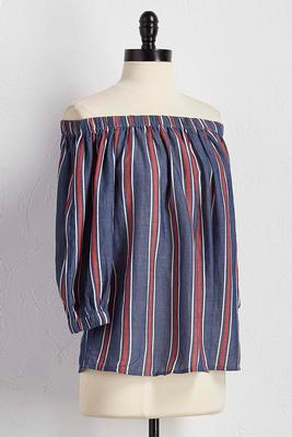 mixed stripe off the shoulder top