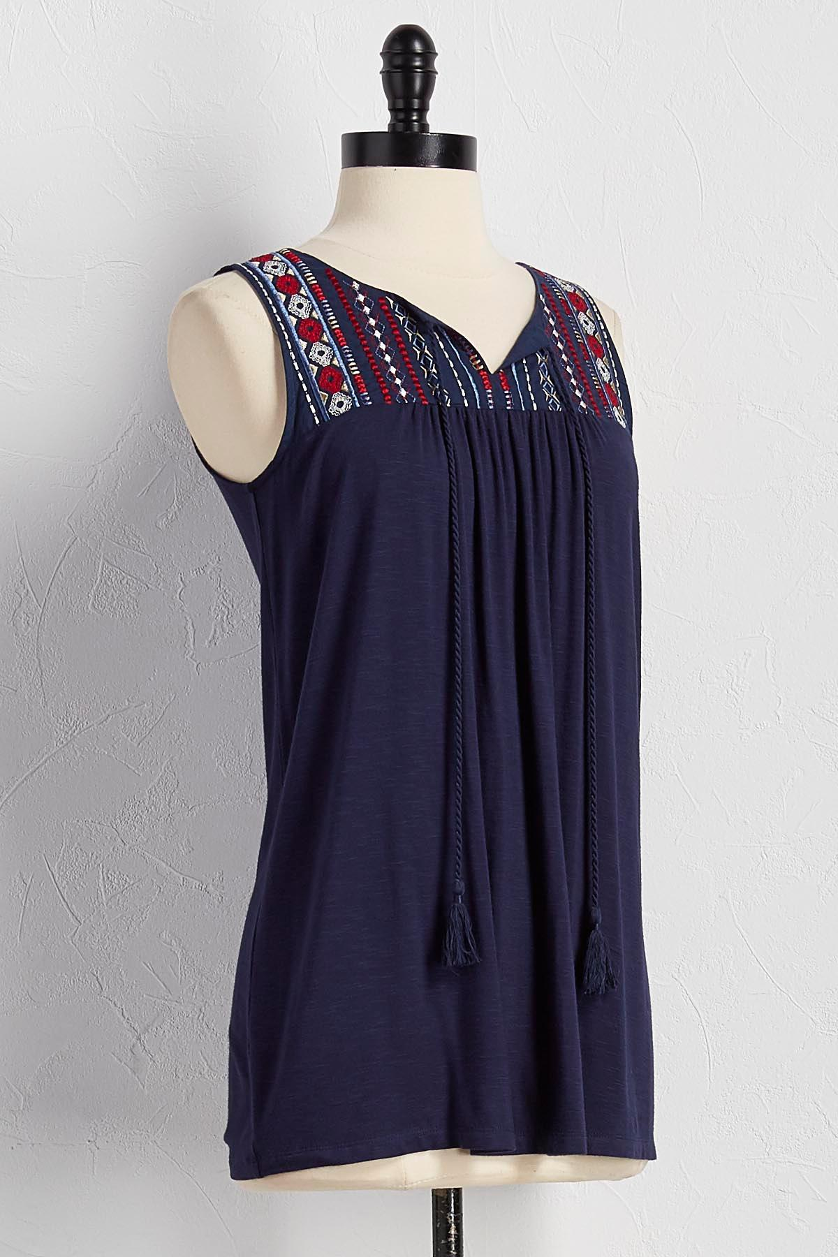 Embroidered Tassel Neck Tank
