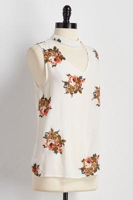 floral cutout mock neck tank
