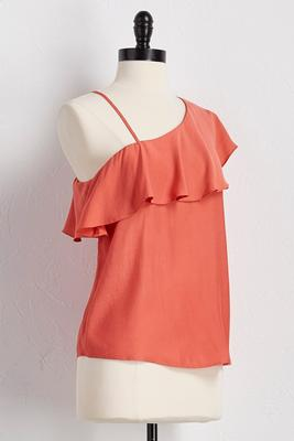 ruffled asymmetrical top