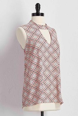 geo-dot cutout mock neck tank