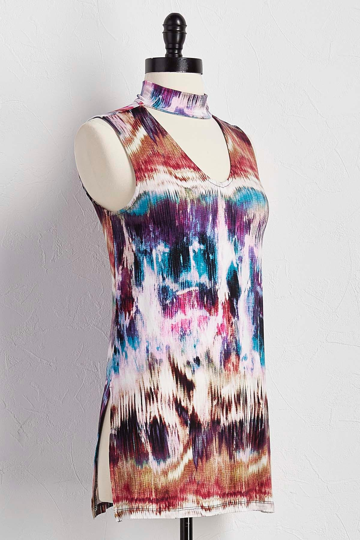 Abstract Mock Cutout Neck Tank