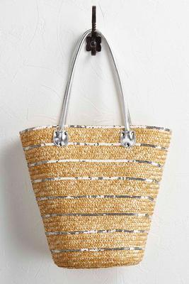 sequin striped straw tote