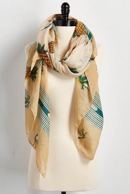 tropical pineapple oblong scarf