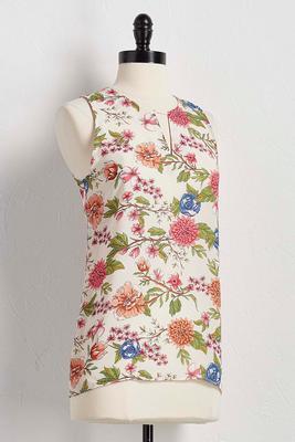 floral cutout neck tank