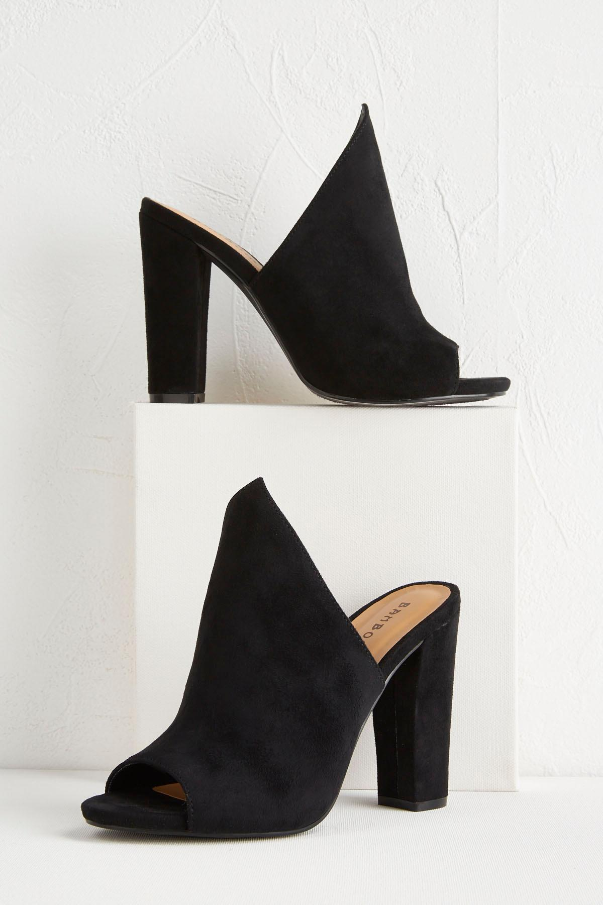 Angular Block Heel Mules