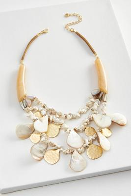 semi-precious shell bib necklace