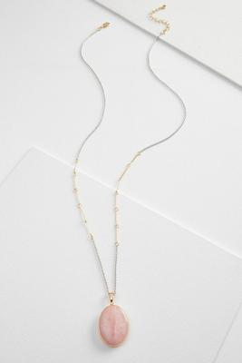 two-tone semi-precious pendant necklace