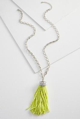 seed bead tassel pendant necklace