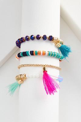tassel stretch bracelet set