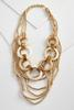 Layered Wood Bead Statement Necklace