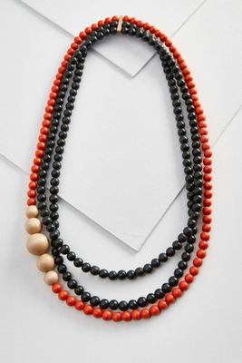 layered wooden bead necklace