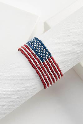 beaded american flag stretch bracelet