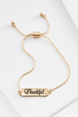 thankful metal bar bracelet