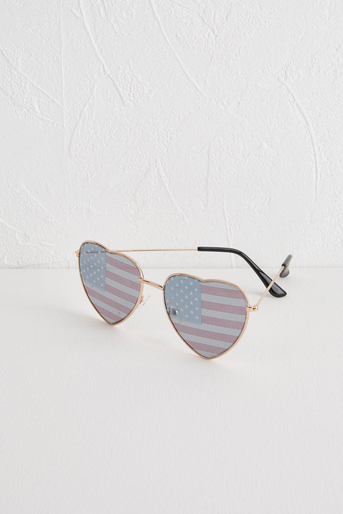 American Flag Heart- Shaped Sunglasses