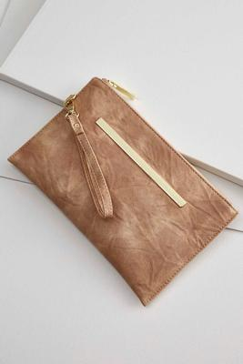 metal bar distressed wristlet