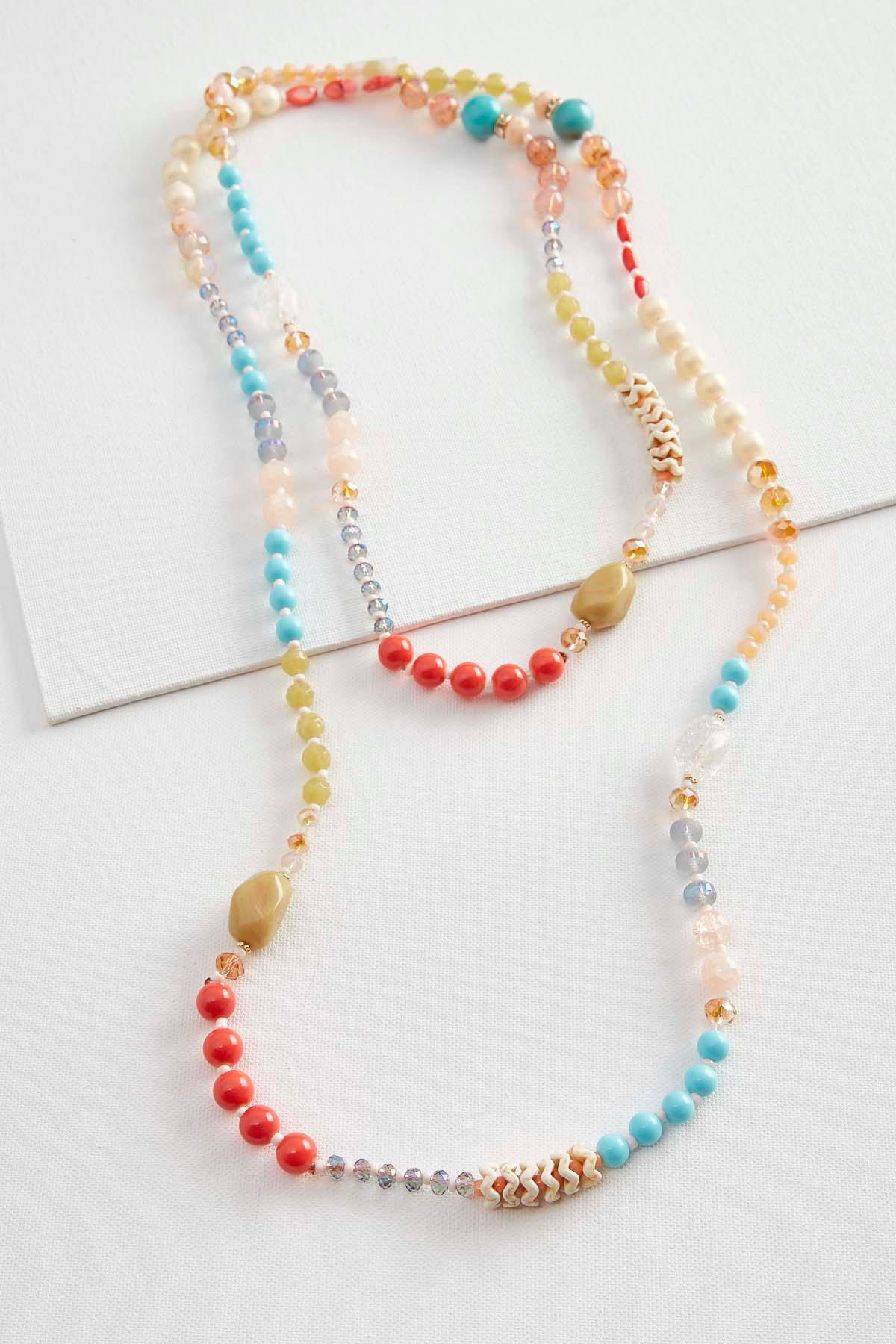 Mixed Colorful Bead Wrap Necklace