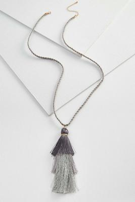 braided fringe tassel necklace