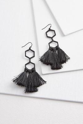 tassel geo dangle earrings
