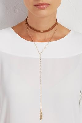 suede chain y-neck choker duo