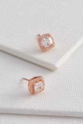 Pave cushion cut earrings