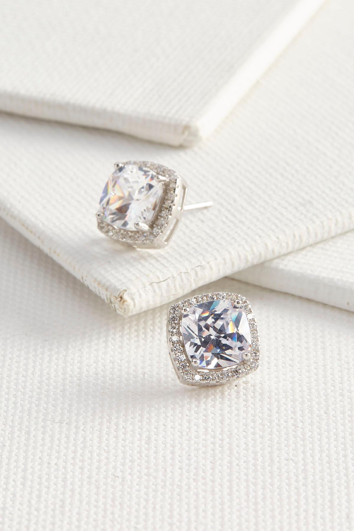 Cz Pave Stud Earrings