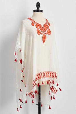 paisley embroidered poncho