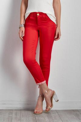 twill skinny cropped pants
