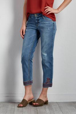 cropped paisley embroidered hem jeans