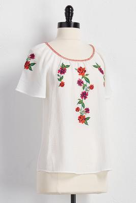 embroidered floral gauze top