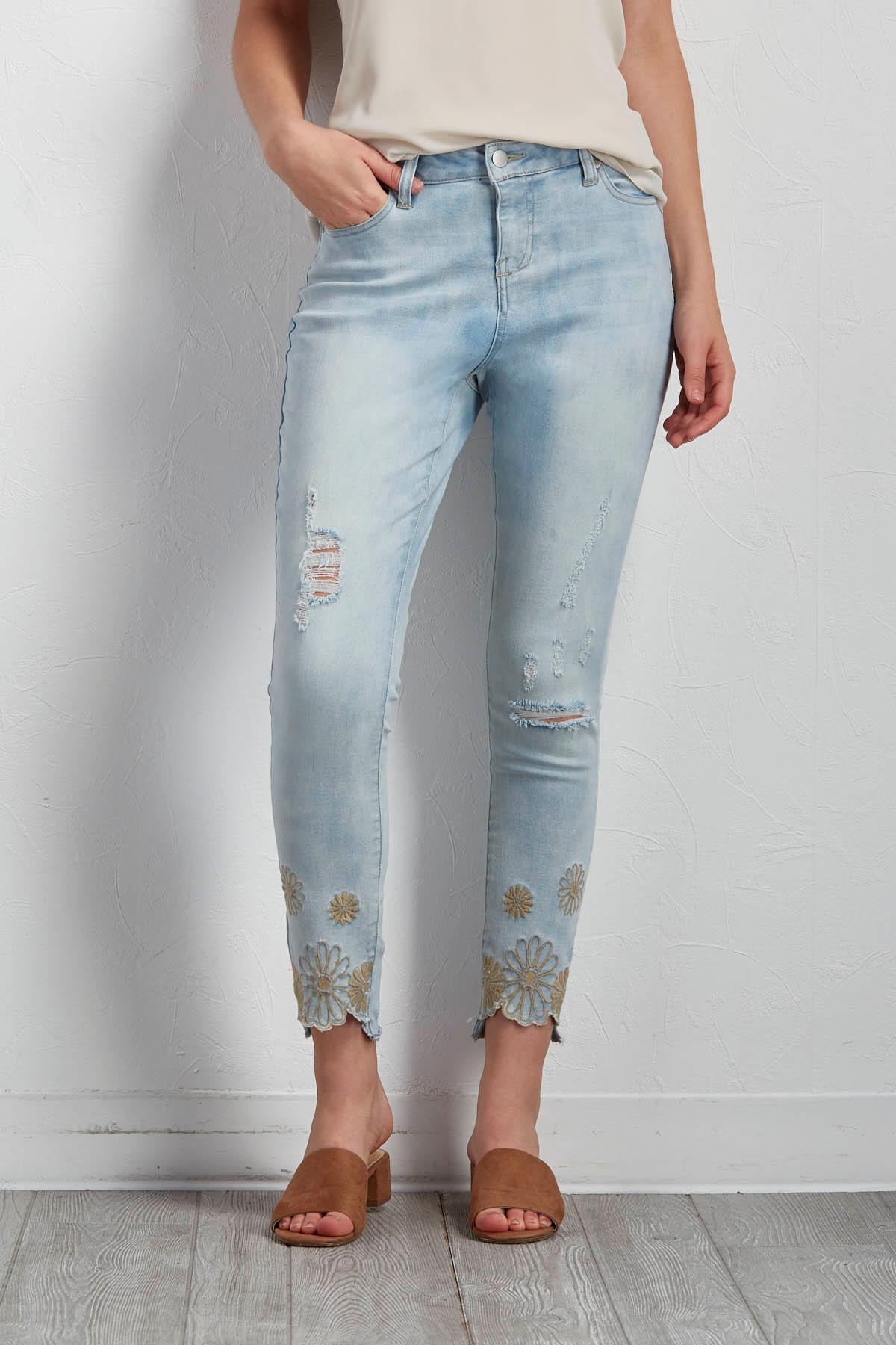 Floral Embroidered Hem Jeans