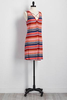 striped casual knit dress