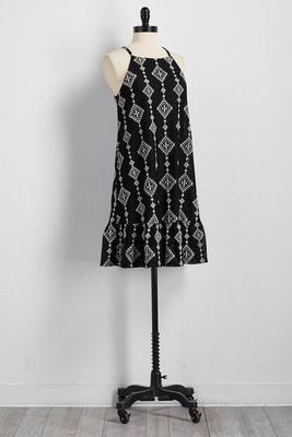 tribal embroidered flounced shift dress