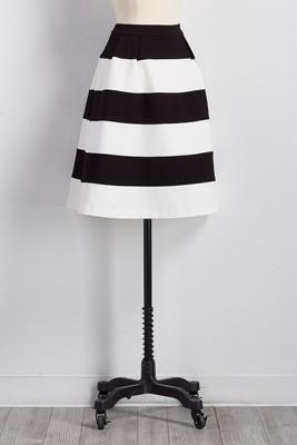 striped ponte midi skirt