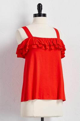 ruffled bare shoulder tank
