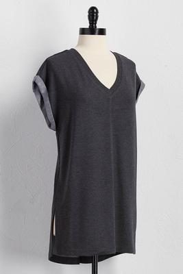 double slit v-neck tunic
