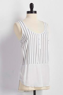 mixed striped henley tank