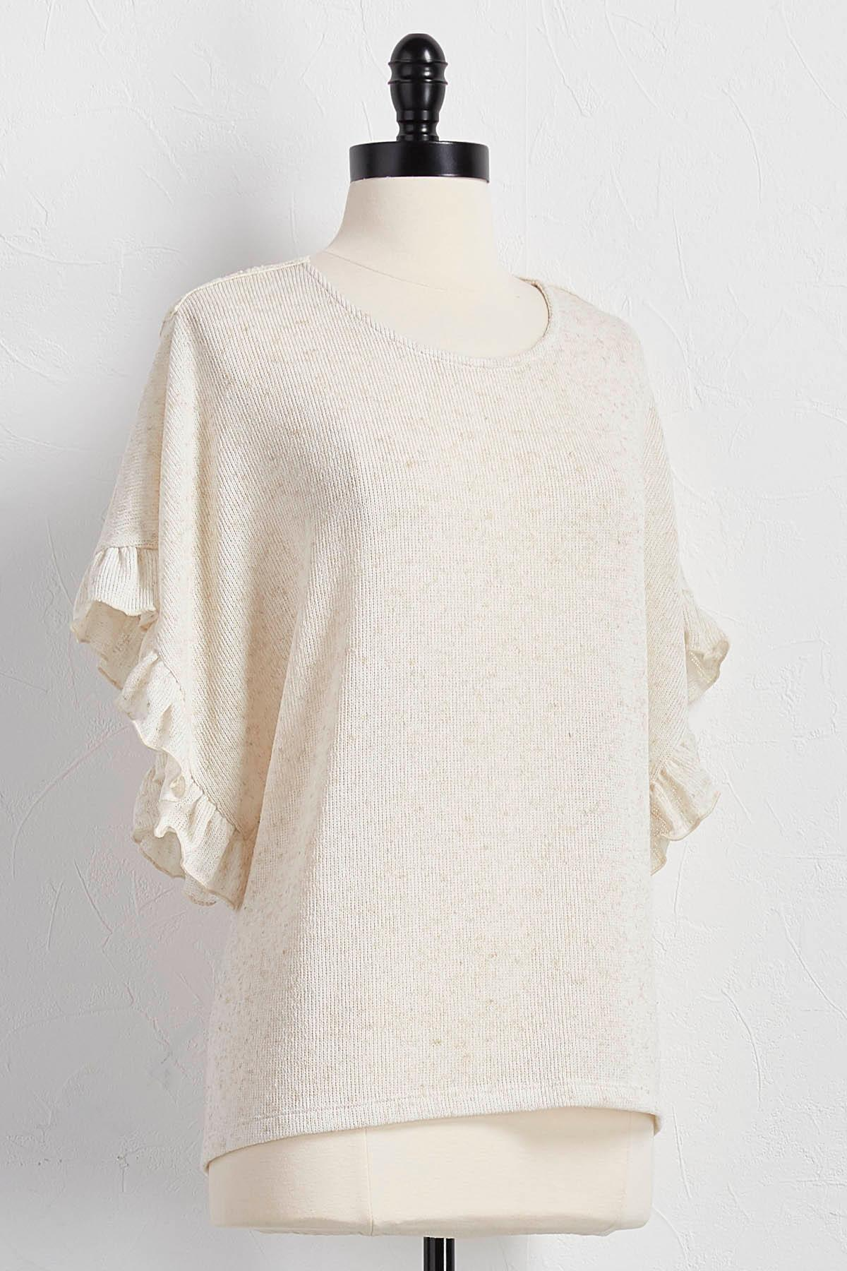 Crochet Back Ruffled Sleeve Top