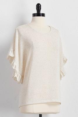 crochet back ruffled sleeve top